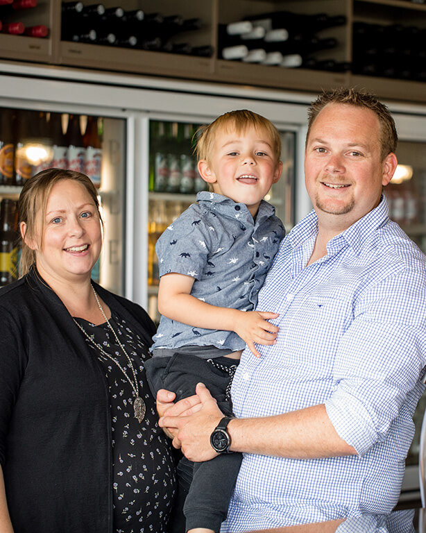 Owners of the Fat Duck Gastropub Te Anau - Cam, Selina and Eli.